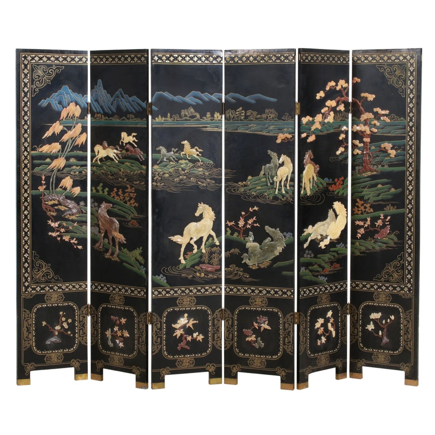 Chinese Painted Wood and Stone Inlay Equestrian Themed Six-Panel Room Divider
