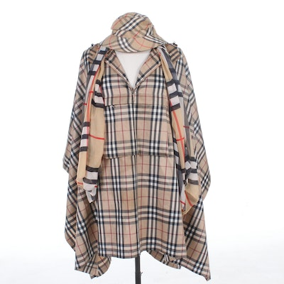 "Burberry Poncho, Bucket Hat, and Scarf in ""Mega"" and ""Nova Check"""