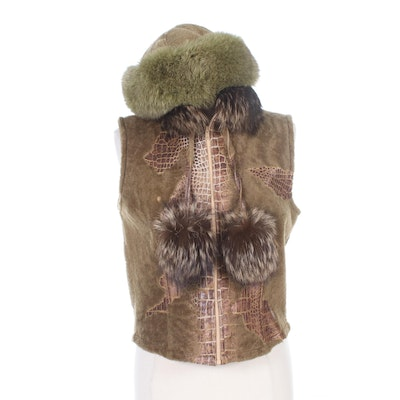 Mitchie's Fox Fur Trimmed Calf Hair Alligator Print Leather Vest and Fox Fur Hat
