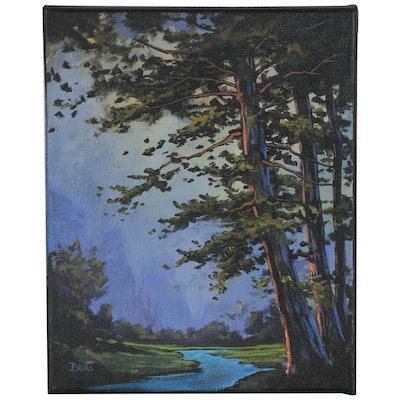 "Douglas ""Bumo"" Johnpeer Oil Painting ""Morning Haze"", 2020"