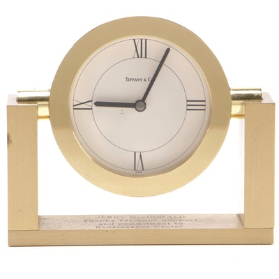 Tiffany & Co. Swivel Dial Brass Desk Clock