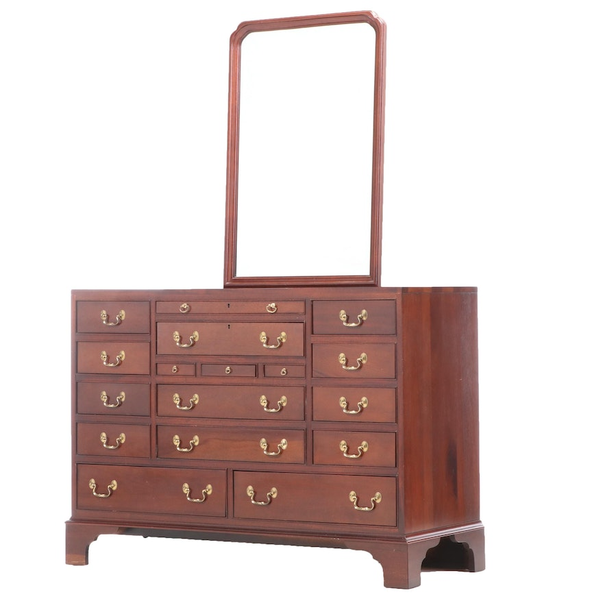 Link-Taylor Chippendale Style Mahogany Chest of Drawers with Wall Mirror