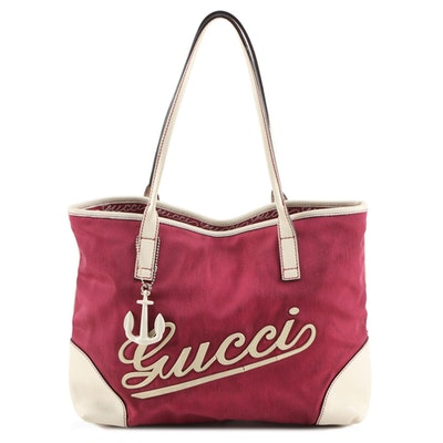 Gucci Boulevard Medium Tote Bag in Red Nylon Canvas and Off-White Leather