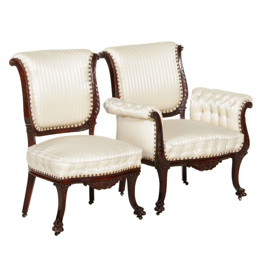 Colonial Revival Upholstered Armchair and Side Chair on Castors, Late 19th C.