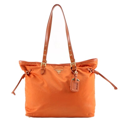 Prada Tote Bag in Papaya Tessuto Nylon and Saffiano Leather Trim