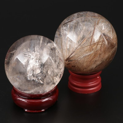Polished Rutilated Quartz Spheres on Bases