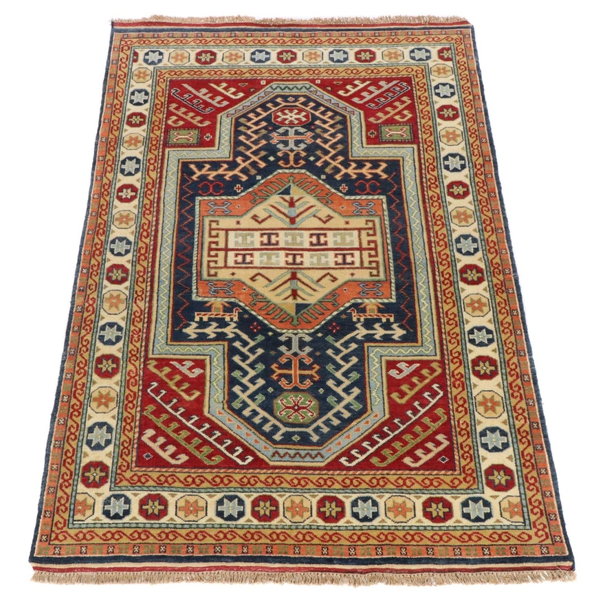5'6 x 8'3 Hand-Knotted Indo-Caucasian Kazak Rug