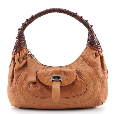 Fendi Spy Hobo Bag in Tan Grained and Woven Dark Mahogany Brown Leather