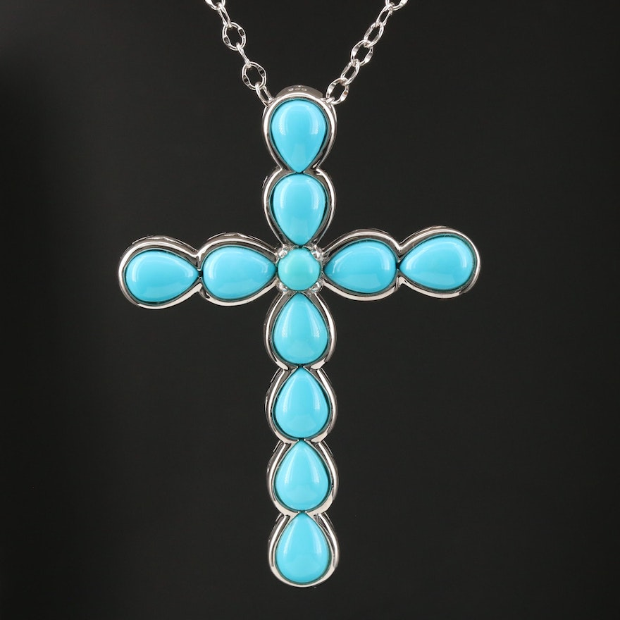 Sterling Turquoise Cross Pendant Necklace