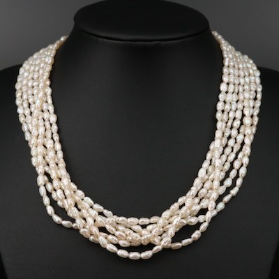 Multi Strand Pearl Torsade Necklace with 18K Closure