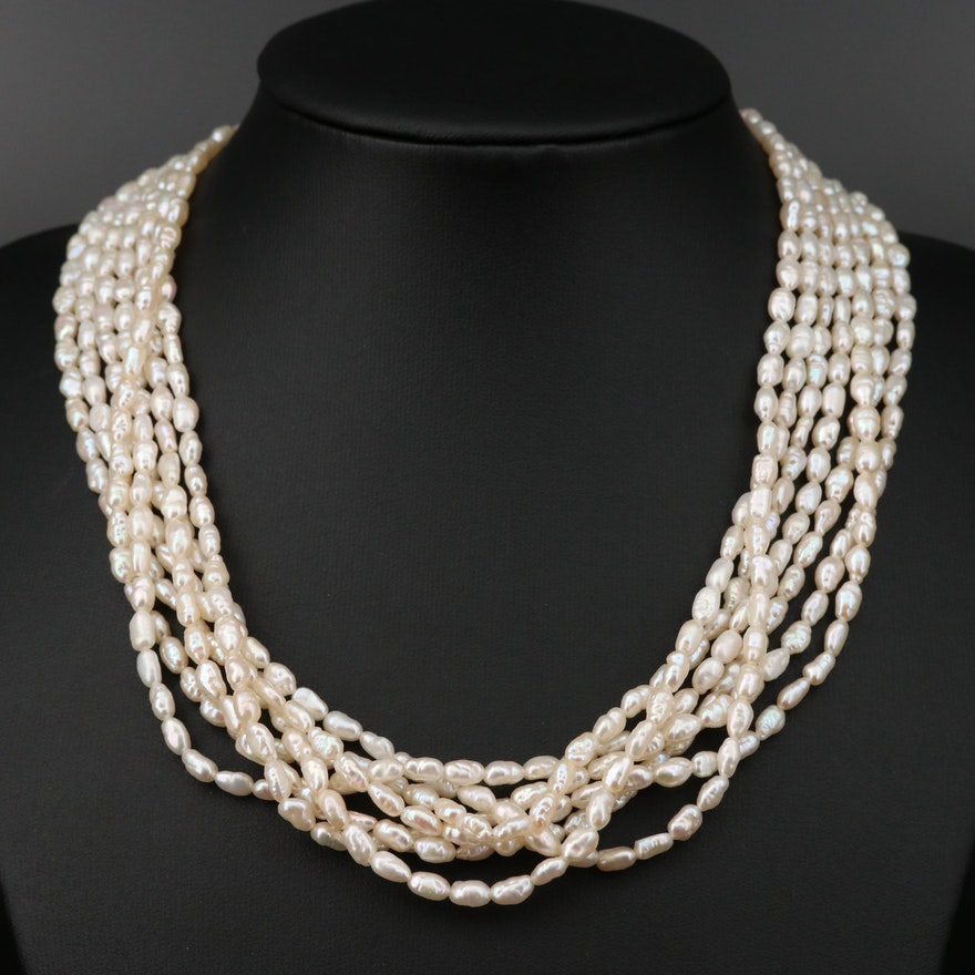 Multi Strand Pearl Torsade Necklace with 18K Closure