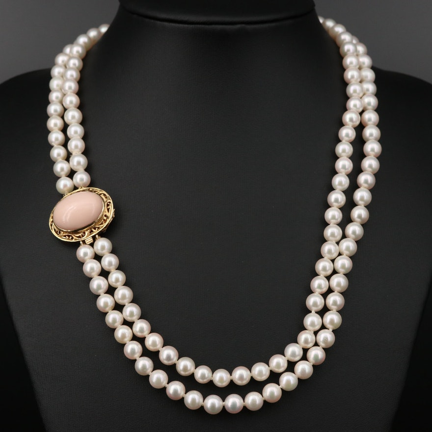 Double Strand of Pearls with 14K Coral Clasp