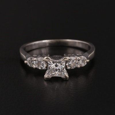 14K White Gold Diamond Ring with GIA Report
