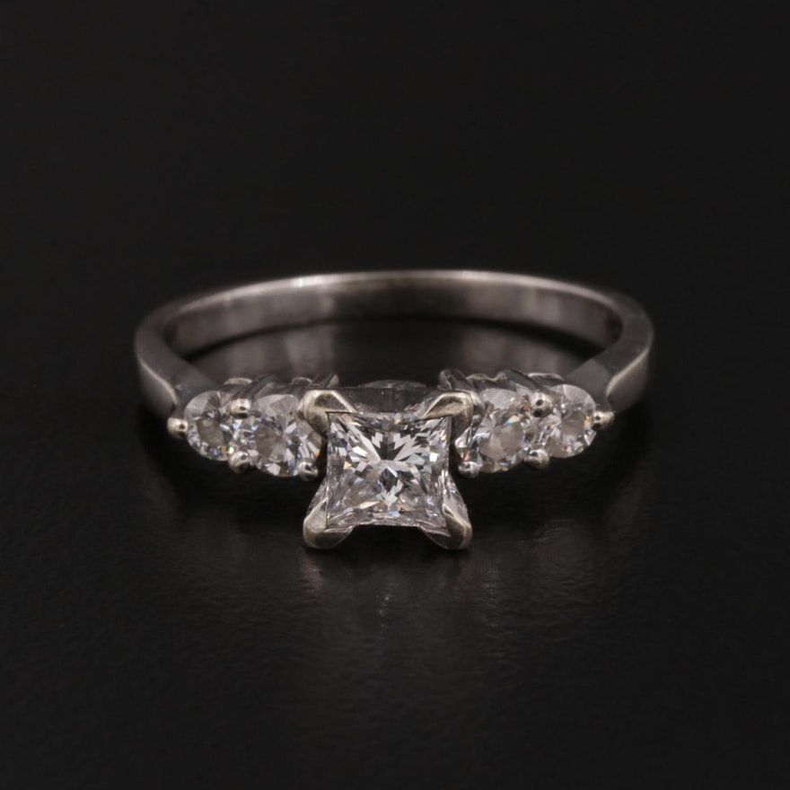 14K White Gold Diamond Ring with GIA Report