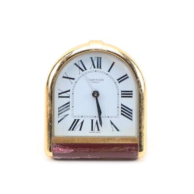"Cartier ""Romane"" Analog Alarm Desk Clock"