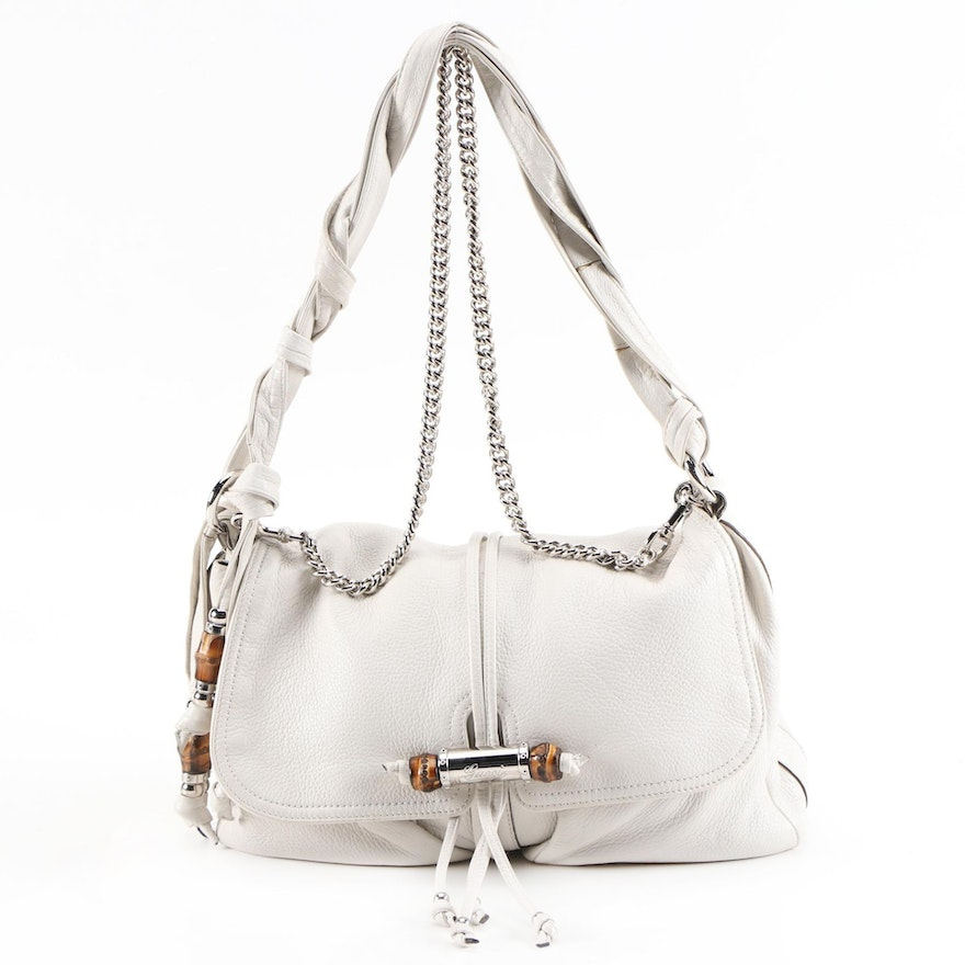 Gucci White Grained Leather Shoulder Bag with Bamboo Accents and Chain