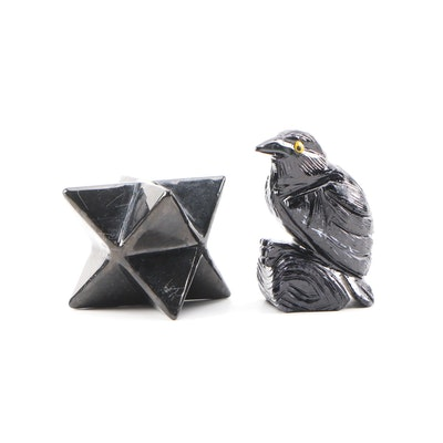Black Onyx and Marble Carved Figurines