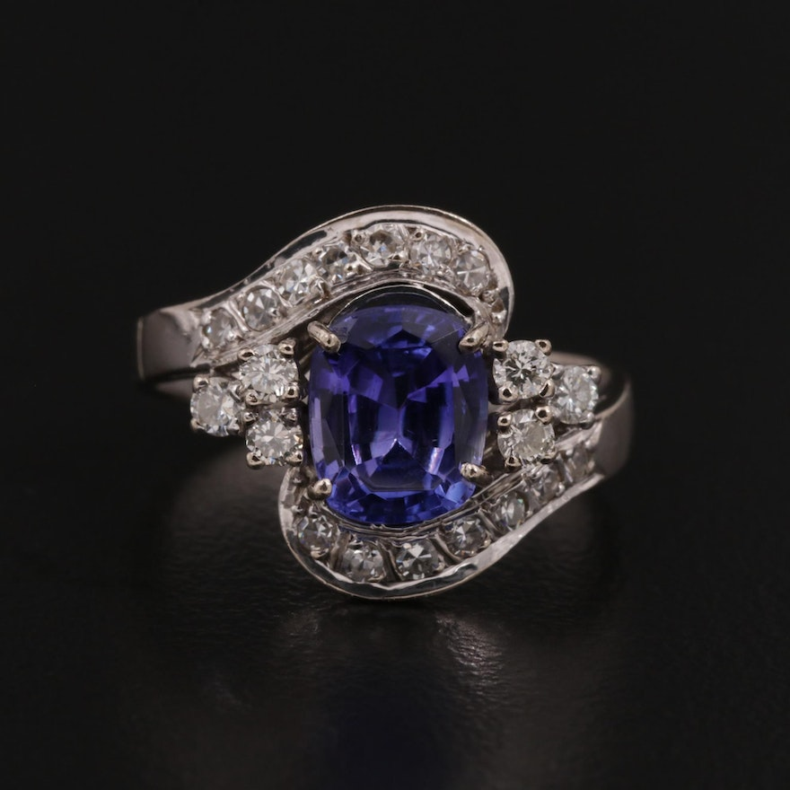 18K Gold Tanzanite and Diamond Bypass Ring