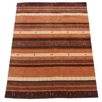 4'10 x 6'5 Hand-Knotted Indo-Persian Gabbeh Pictorial Rug