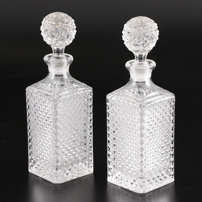 Pressed Glass Decanters, Mid to Late 20th Century