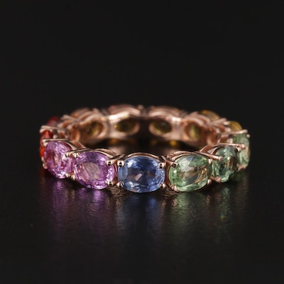 14K Yellow Gold Multi-Color Fancy Sapphire Eternity Band