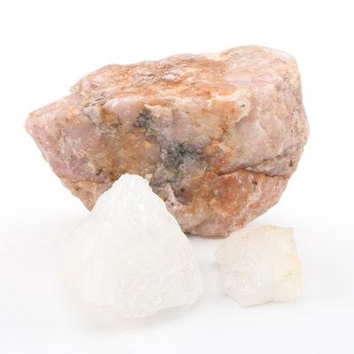 Quartz and Rose Quartz Mineral Specimens