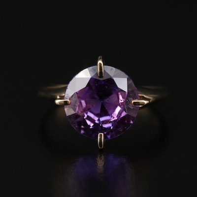 8K Yellow Gold Synthetic Sapphire Ring
