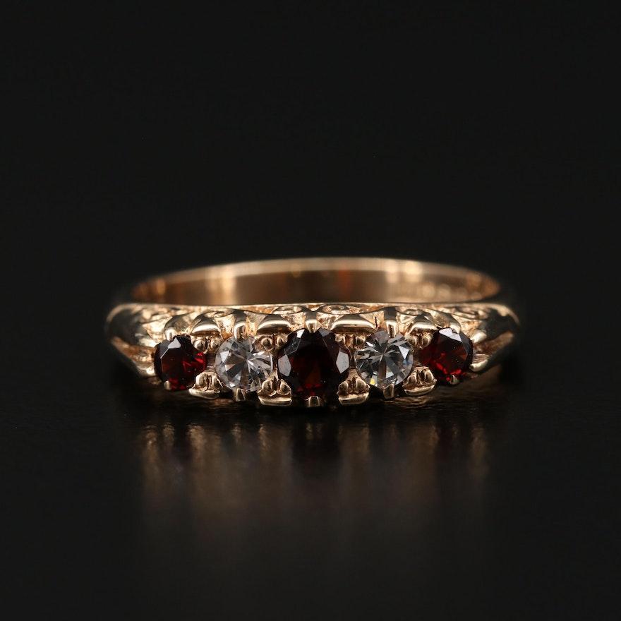 9K Yellow Gold Garnet and Cubic Zirconia Ring