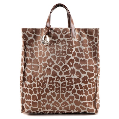 Fendi Tote Bag in Leopard Jacquard Canvas and Leather