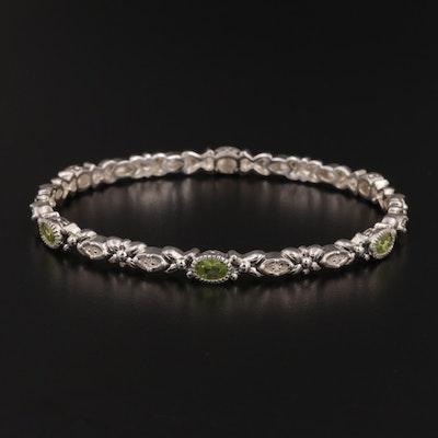 Sterling Silver Peridot and Diamond Bangle Bracelet