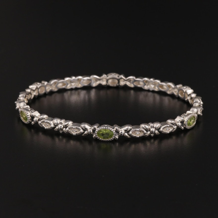 Sterling Silver Peridot and Diamond Bangle Bracelet