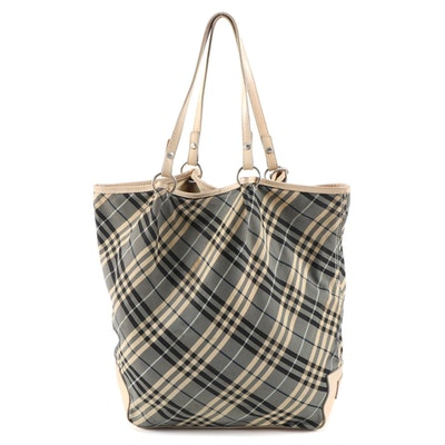 Burberry London Blue Label Black and Beige Plaid Canvas Leather Trimmed Tote