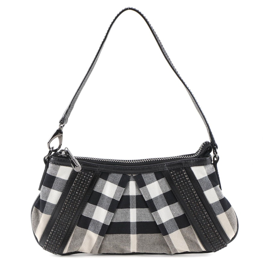 Burberry Lizzie Baguette in Smoke Plaid Canvas and Studded Leather