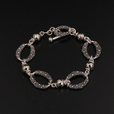 Michael Dawkins Sterling Silver and Pyrite Link Bracelet with Granulation Detail