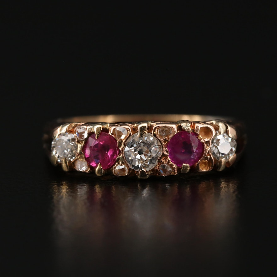 Vintage 14K and 18K Yellow Gold Diamond and Ruby Ring