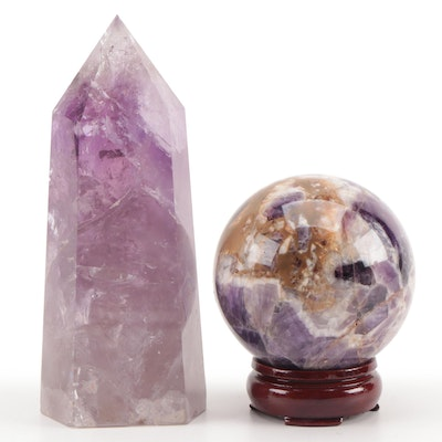 Polished Amethyst Obelisk and Sphere with Stand