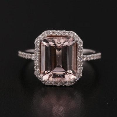 18K White Gold Morganite and 0.28 CTW Diamond Ring