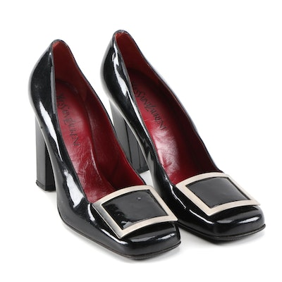 Yves Saint Laurent Black Patent Leather Square Toe Pumps with Buckle Accents