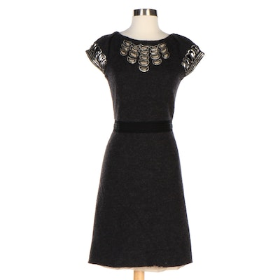 Tory Burch Fitted Grey Wool Dress with Sequin Embellished Cutouts