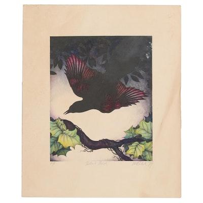 "Hand-colored Lithograph ""Black Bird"", 1979"