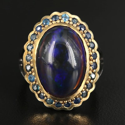 Sterling Sapphire Ring with Opal Halo