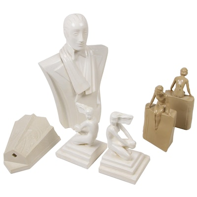 Art Deco and Deco Revival Figural Bookends, Wall Pocket, and Storage Container