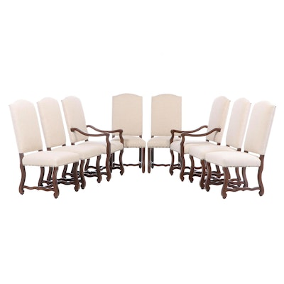 "Eight Frontgate ""Valetta"" Stained Hardwood and Linen-Upholstered Dining Chairs"