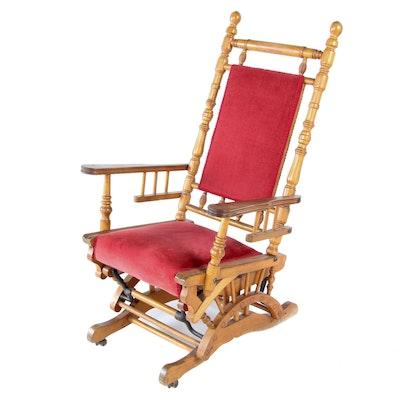 Victorian Birch Platform Rocking Chair, Late 19th Century