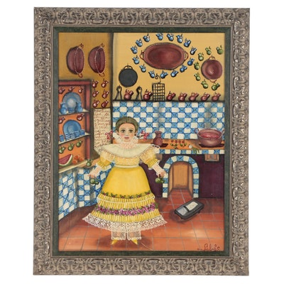 Agapito Labios Oil Folk Painting of Young Girl in Kitchen