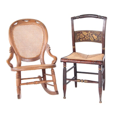 Walnut Rocking Chair and Stenciled Side Chair, 19th Century