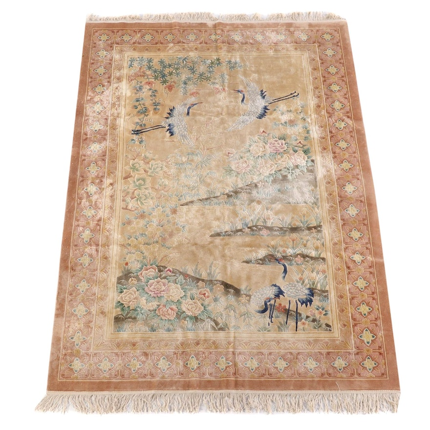 5'6 x 8'5 Hand-Knotted Chinese Carved Silk and Wool Rug