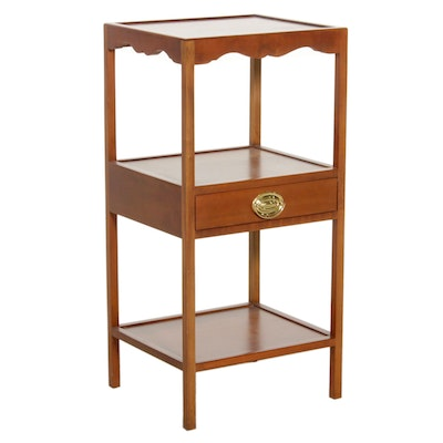Three Tiered High Wooden Display Table with Central Drawer