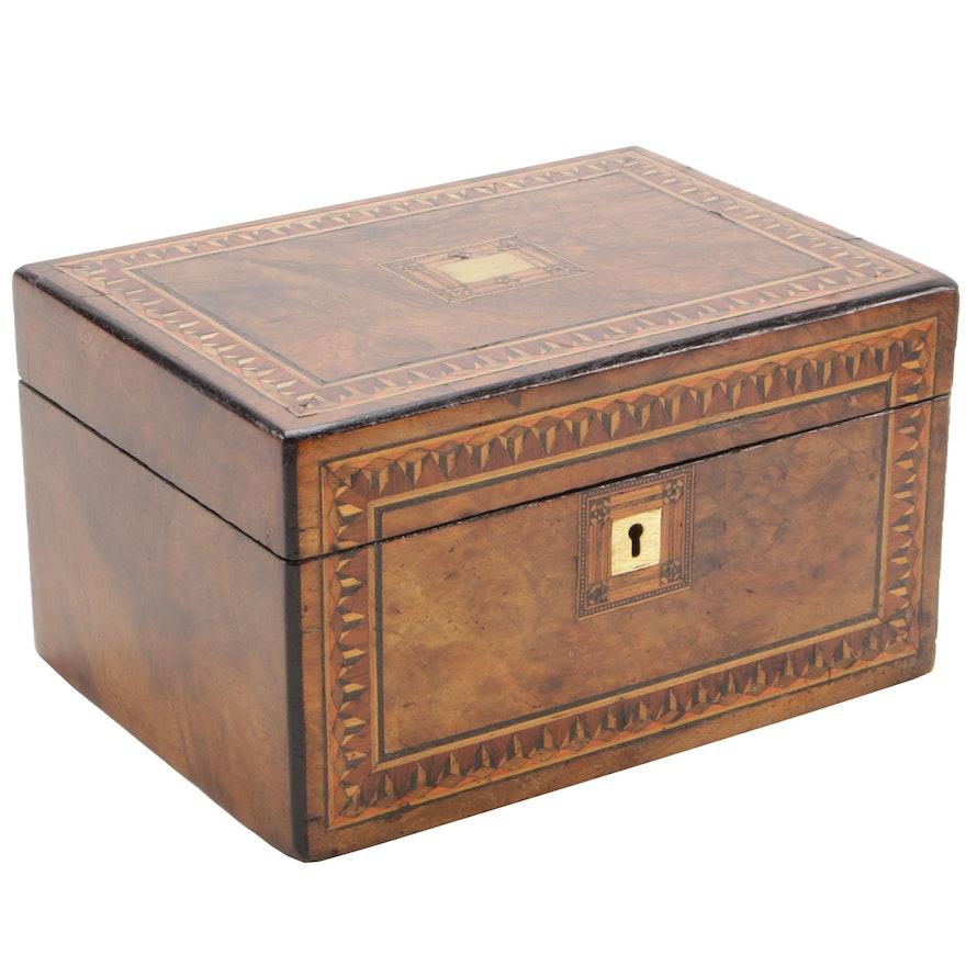 Victorian Burl Walnut Tunbridge Ware Box, Second Half 19th Century