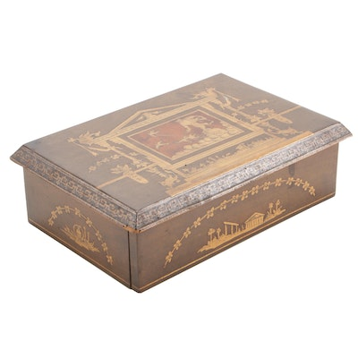 Neoclassical Style Marquetry Box with Tessellated Mosaic Border, Late 19th C.